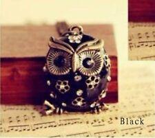 Retro Vintage Cute Crystal Rhinestone Owl Pendant Long Necklace Black Colour UK