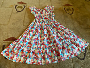 Papo d'Anjo 10 Years Girls Floral Cotton Tiered Peasant Dress EUC
