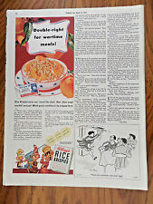 1943 Kellogg's Rice Krispies Ad Wartime Meals Snap Crackle Pop Guys