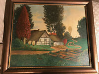 "Vintage Rittinger ""Country Home Scene"" Oil Painting - Signed And Framed"