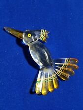 "NOS/ANTIQUE-Vtg3.5""LUCITE-HUMMING-BIRD Clear&Amber/Brooch-Pendant NO-METAL-FIND."