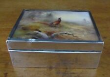 JAMES STINTON ROYAL WORCESTER PLAQUE LID=STERLING SILVER CIGARETTE BOX=1902=RARE