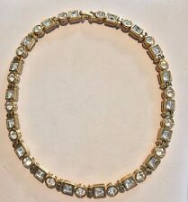 MONET NECKLACE, HEAVY GOLD, CLEAR CRYSTALS