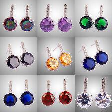 Amethyst Rainbow & White Topaz Morganite Garnet Gemstones Stud Silver Earrings