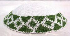 Yamaka Kippah Knit Crochet White Green Diamond Band Jewish Cap