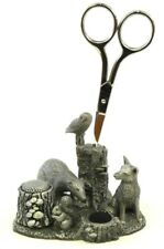 More details for woodland wildlife english pewter sewing station fox badger squirrel owl mouse