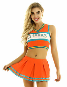Women Adult Charming Cheer Leader Fancy Costume Top Mini Skirt Outfits Uniform