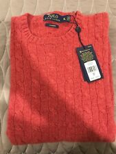 POLO RALPH LAUREN CABLE CREW NECK SWEATER 100% CASHMERE SZ XL NWT $398