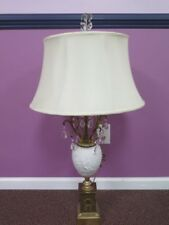 BAVARIA GERMANY BISQUE PORCELAIN TABLE LAMP WITH BRASS MOUNTS CRYSTALS FINIAL