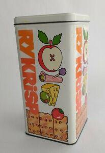 "Vintage Tin Metal Cracker Box Ry Krisp 9"" x 4.5"" x 4.5"" Apples Olive Cheese"