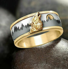 Forest Wolf Ring Men's Ring Fashion Jewelry Call of The Wild 18K Gold Two-Color