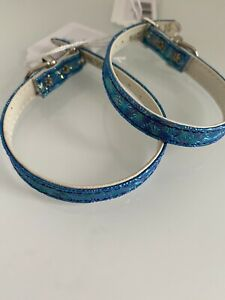 "Mirage Leather 12"" Mermaid Blue Dog Collar USA Import, Groomers Pet Shop"