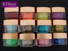 12 Pots Color 3D Nail Art Sequins Crystal Glaze Solid UV Gel Salon Tips