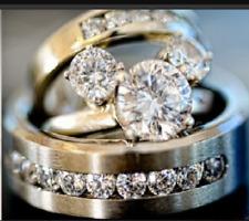 14k White Gold Finish Diamond Mickey Mouse Engagement Wedding Band Trio Ring Set