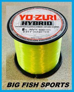 YO-ZURI HYBRID Fluorocarbon Fishing Line 8lb/600yd HIVIS NEW! FREE USA SHIP!