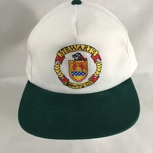 Stewart's Brewing Co White Green Bill One Size Snapback Baseball Cap