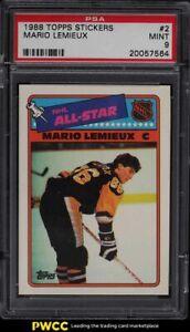 1988 Topps Stickers Mario Lemieux #2 PSA 9 MINT
