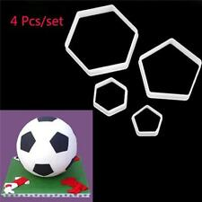 4pcs Hexagon Football Plastic Cookie Cutter Sugar Fondant Cake Decor Mold LA