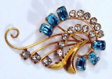Vintage De Curtis 12k Gold-Filled Rhinestone Flared Spiral Pin Brooch