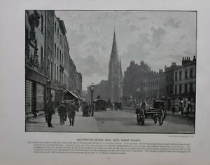 1896 LONDON PRINT + TEXT WESTMINSTER BRIDGE ROAD WITH CHRIST CHURCH