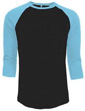 3/4 Sleeve Plain Baseball Raglan T-Shirt Tee Mens Jersey Black Light Blue 2XL
