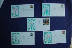 Four Flowers 34c Stamps 5 FDCs Artmaster Sc#3487-90 12931 SA Iris Orchid Bk Ver