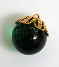 VINTAGE GLASS MARBLE BEAD PENDANT BRASS BEAD CAP 18mm EMERALD GREEN