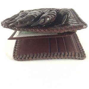Dark Brown Genuine Alligator Crocodile Leather Men's Bifold Wallet Handmade us04