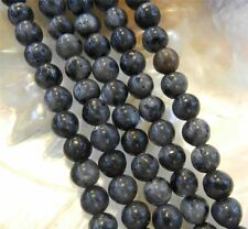 Natural 10mm India Black Gray Labradorite Gems Round Loose Beads 15""