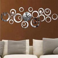 Wall Clock 3D Stickers DIY Acrylic Mirror Needle Living Room Gold Clocks Decor