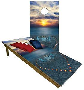 Cornhole Magical Sunset Beach Dinner Boards BEANBAG TOSS GAME w Bags Set