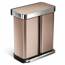 simplehuman Dual Compartment Pedal Bin With Liner Pocket 58 Litre Rose Gold