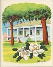 VINTAGE MAGNOLIA FLOWERS PLANTATION HOUSE PRINT CHICKEN OKRA GUMBO RECIPE CARD