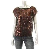 ELLEN TRACY Women's $99 DESIGNER BRONZE SEQUINED MESH PULLOVER TOP SHIRT M NEW