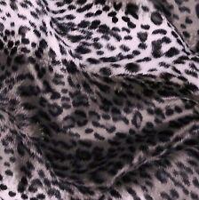 Grey Silver Lynx Leopard Print Velboa Fur Fabric (Per Metre)