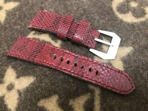BURGUNDY PYTHON SNAKE WATCH STRAP 26/22 AND 130/80 FOR PANERAI WATCH *USED*