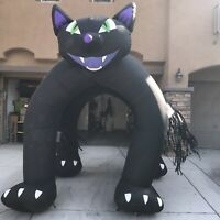Gemmy Halloween Airblown Inflatable Black Cat Over 9 ft Tall w/Lights