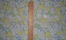 Patchwork Kids Buttons Thread Sewing Collage Exclusively Quilters Fabric BTY