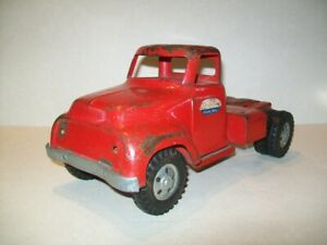 Vintage Pressed Steel 1950's Tonka Toys Red Semi Tractor/Trailer Truck Cab Only