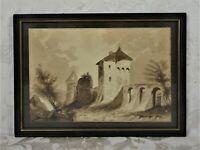 Vintage Watercolor Painting Southwestern Landscape Spanish Mission Architecture