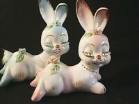 Cute Lot of (2) vintage Blue/Pink bunny figurines, L.W RICE&CO made in Japan
