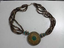 """Vintage """"70's Sun Disc Necklace 27"""" Plastic Disc w/Beads"""