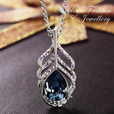 18K White Gold GF Made With Swarovski Element Peacock Feather Teardrop Necklace