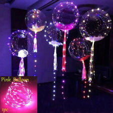 LED Light Balloons Transparent Balloon Wedding Birthday Xmas Party Lights Decor Pink