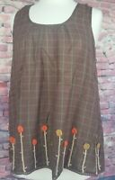 Ivy Jane Casual bohemian Brown Top with Colors Embroidery sleeveless Size Small