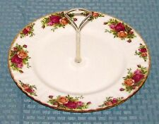 "Royal Albert Eng. Old Country Roses 10 1/2"" Round Serving Plate With Handle VG"