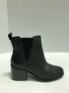 Toms Esme Womens Boots Bootie Black Leather 6.5 M