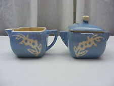Vintage Harker Pottery USA Sugar Creamer Set Cameoware Blue White