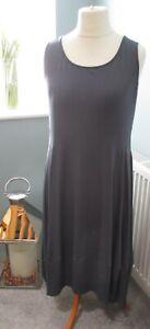Yong Kim Modal Sleeveless Dress with Panelled Hem Fig Size 18 New