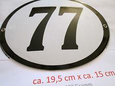 Hausnummer Oval Emaille  schwarze Nr. 77  weißer Hintergrund 19 cm x 15 cm